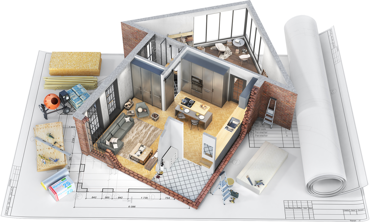 Interior and exterior model of a house being constructed before home inspection